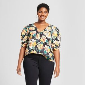 New AVA & VIV Floral Pleated Sleeve Blouse Top NWT
